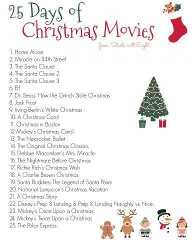 25 Days of Christmas Movies with Free Printable List