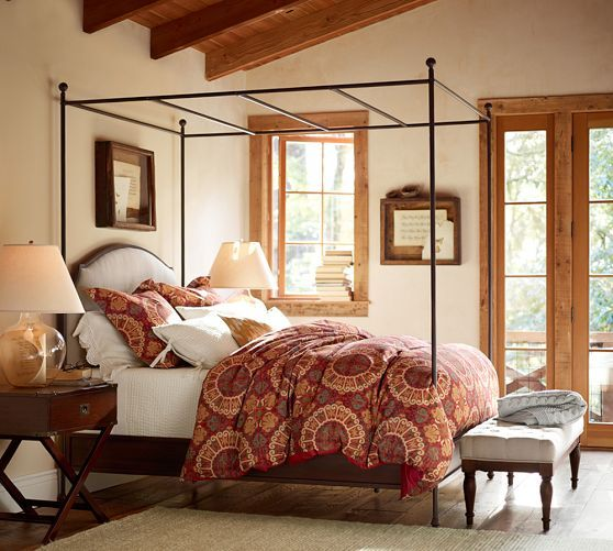 Aberdeen Canopy Bed Pottery Barn Love The Look Of This Master Bedroom Beams Light Bed Etc