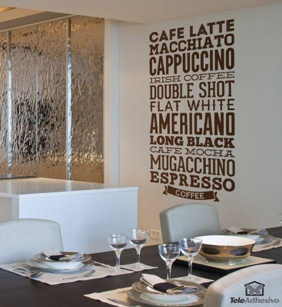 Vinilo decorativo tipogr fico de tipos de caf s vinilos for Vinilos para bares