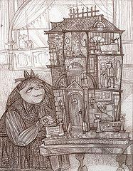 The Doll's House, Katherine Mansfield - dollhouse-inspired art by Wilson Swain (American illustrator/designer)