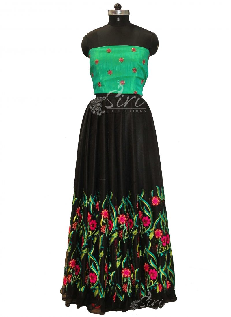 70e97917b2048 Trendy Lehenga Crop Top Fabric Set in Black Net with heavy ...