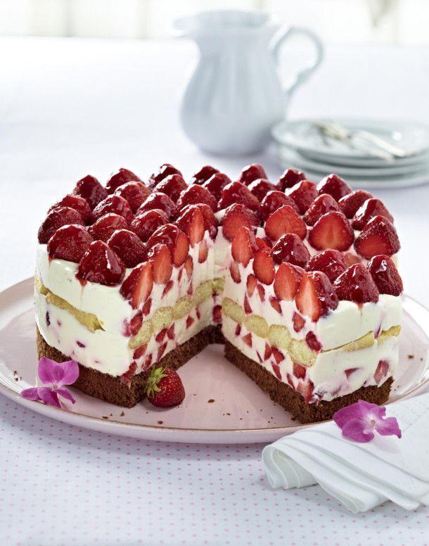 Italienische Erdbeer-Mascarpone-Torte #peachideas