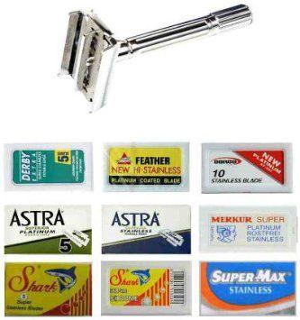 Derby-Astra-Dorco-Shark-Feather-Merkur-Supermax,Double Edge Safety Razor Blade Sampler Pack-70 blades and Shaving Factory Double Edge Safety Razor