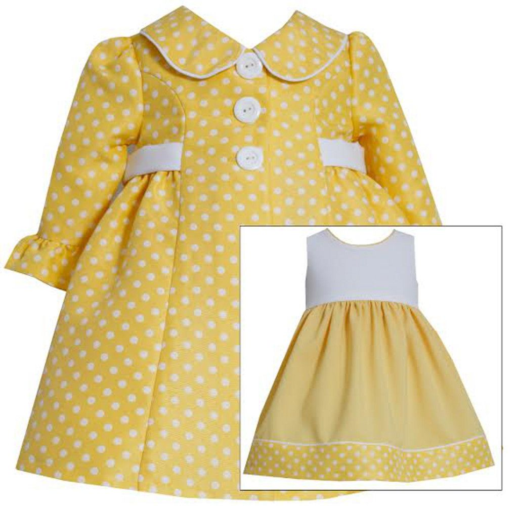 Baby or Toddler Girls Easter Coat Dress : Yellow Dot Dress with