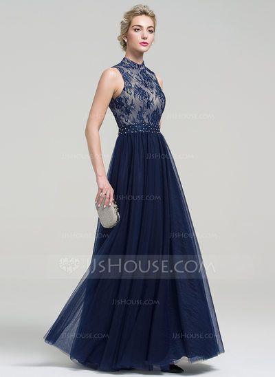 c67638258  US  129.99  Corte A Princesa Cuello alto Hasta el suelo Tul Vestido de  noche con Cuentas Lentejuelas