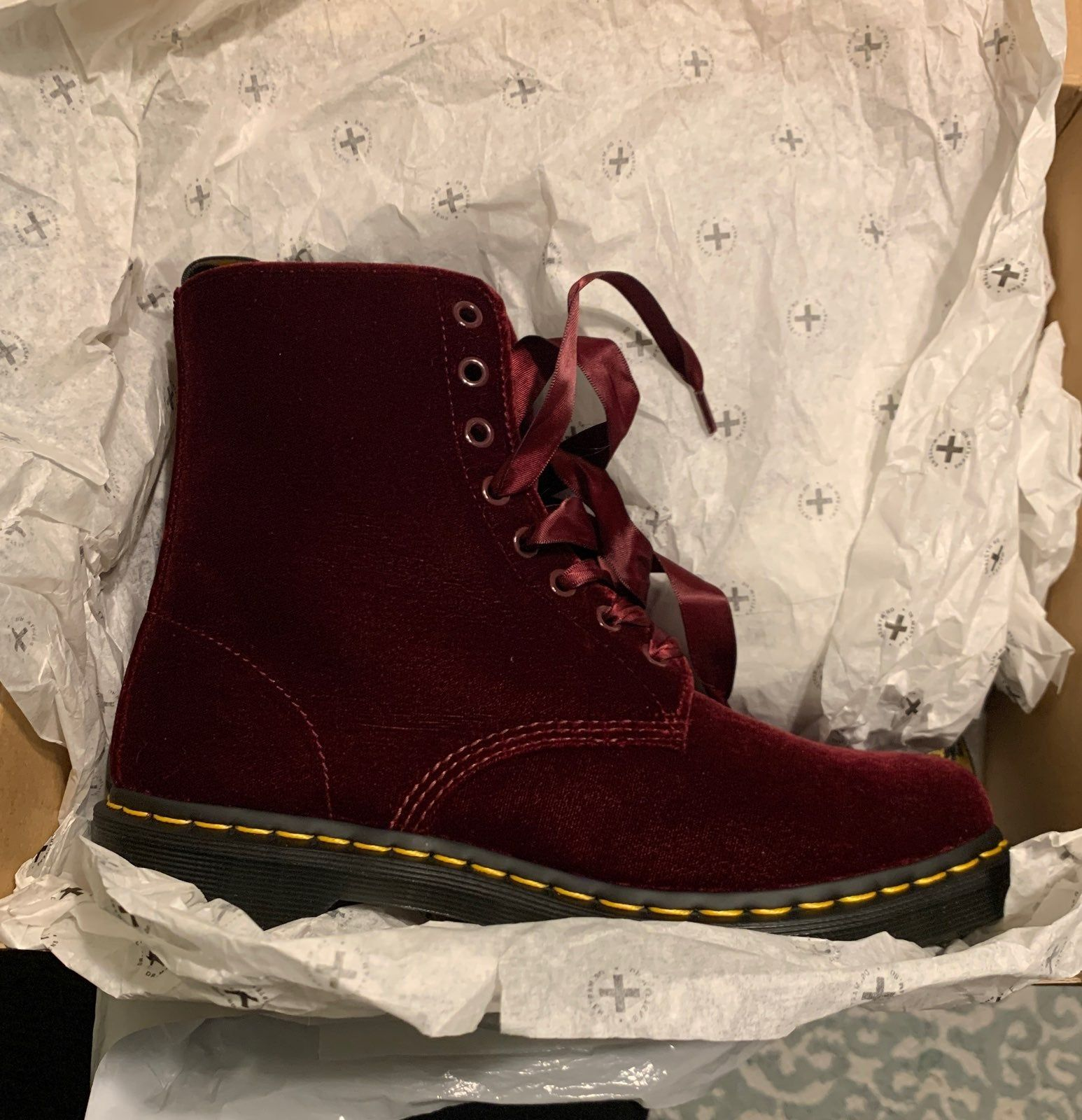 Brand new, never used. Still in box. Red velvet Dr Martens