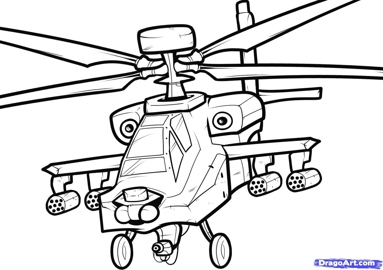 How To Draw An Apache, Apache Helicopter by Dawn