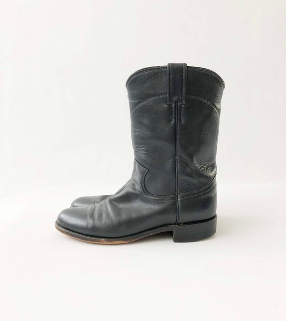 3200acad747 Vintage Womens Justin Roper Boots - Navy Black Western Leather ...