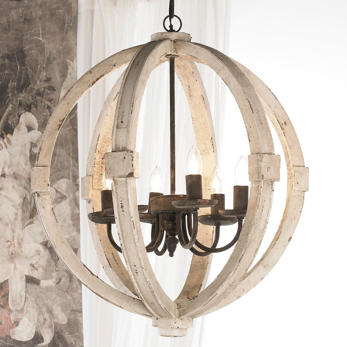 Distressed Wood Sphere Chandelier Rustic Chandelier Wooden