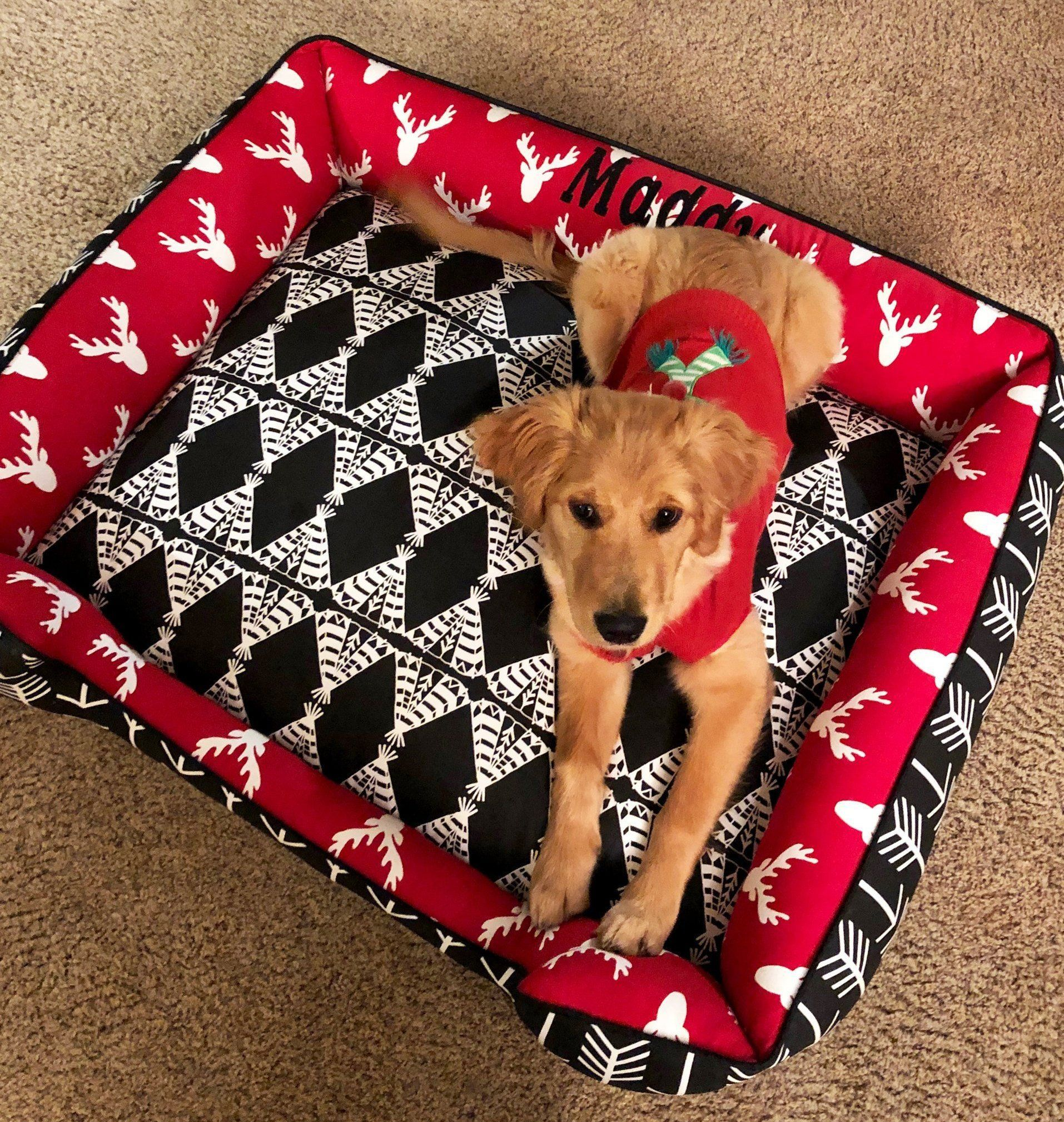 Tribal Dog Bed Modern Dog Bed Red and Black Pet Bed