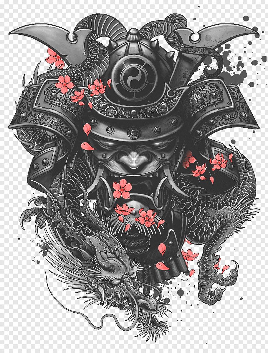 Samurai illustration, Sleeve tattoo Samurai Irezumi, samurai, fictional Character, tattoo, japanese Dragon png | Klipartz