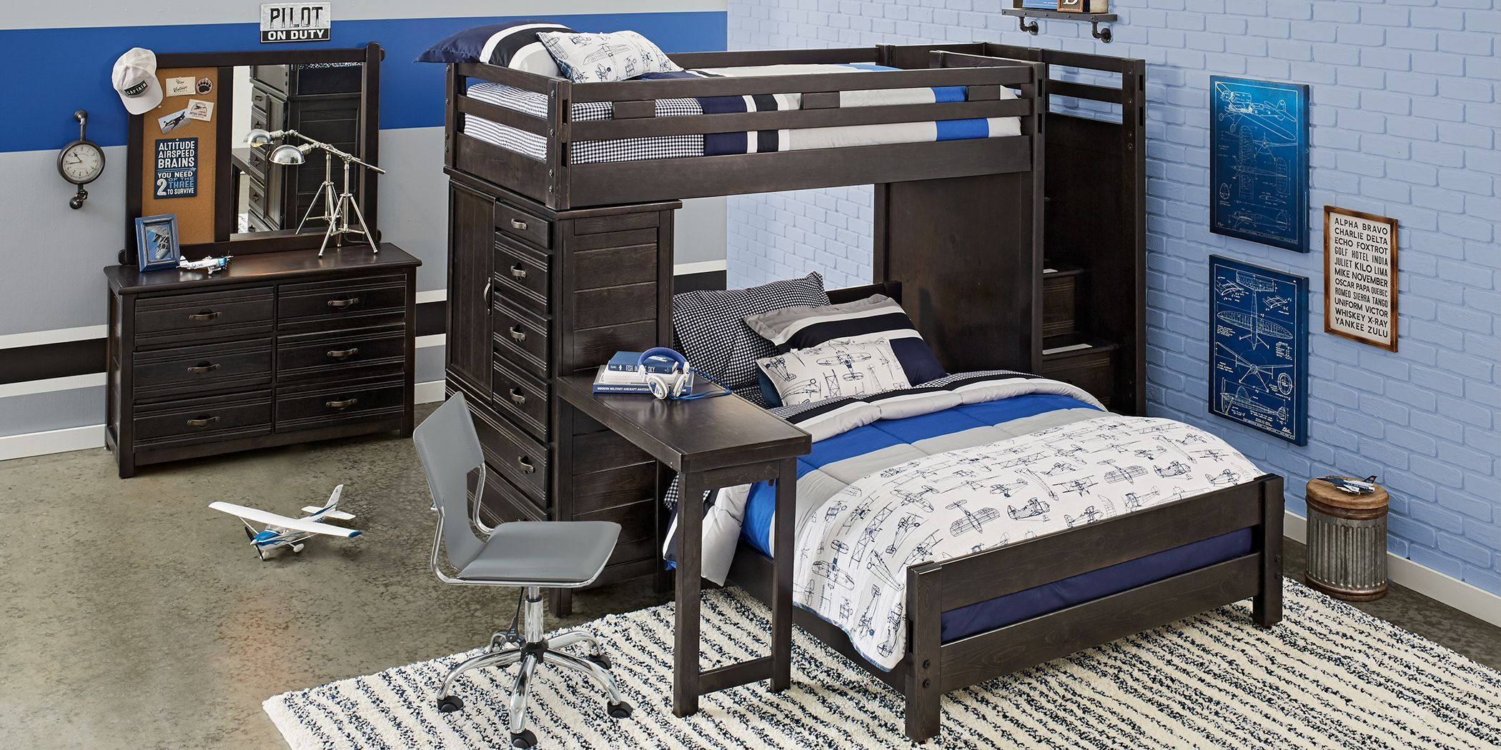 Creekside Charcoal Twin Full Step Bunk With Chest Desk Attachment In 2020 New Room Room Furniture