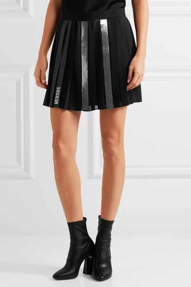 37c1ac1f Versus Versace - Faux Leather-trimmed Embellished Pleated Chiffon ...