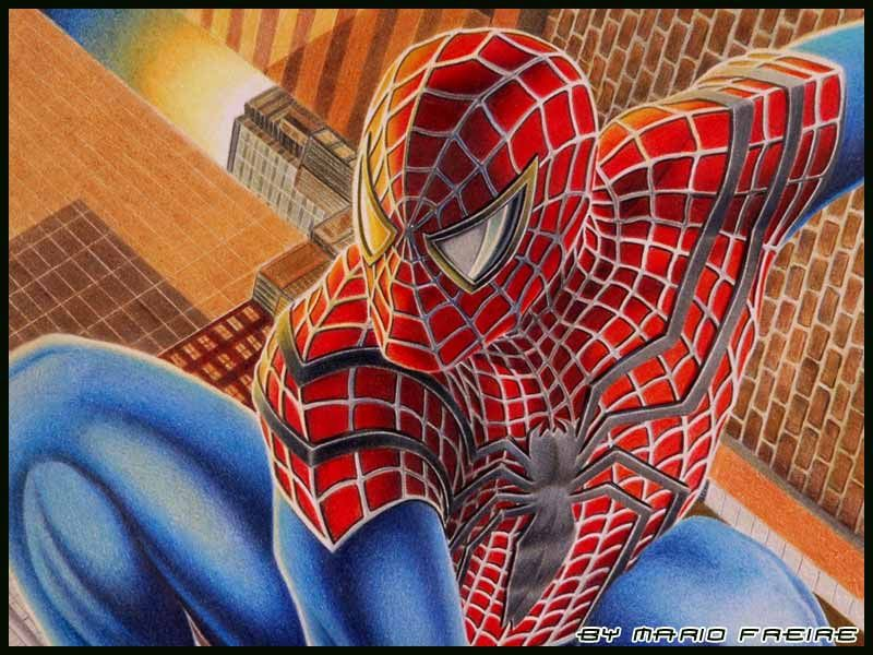 Mind Blowing Colored Pencil Drawings By Mario Freire Spiderman Artwork Spiderman Color Pencil Drawing
