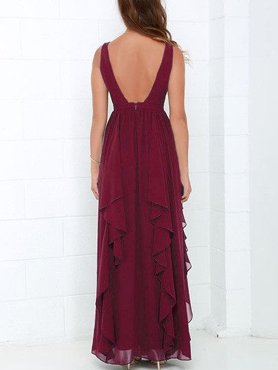 Burgundy Deep V Neck Maxi Chiffon Dress  991382fb5