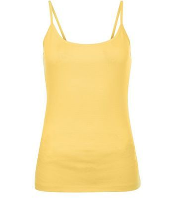 86e0f01c16cea1 Yellow Scoop Neck Cami Spaghetti Strap Top