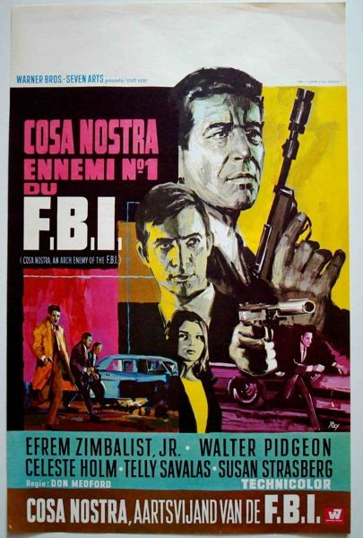 Cosa Nostra The arch Enemy Of FBI Belgian movie poster with art by RAY (Raymond…
