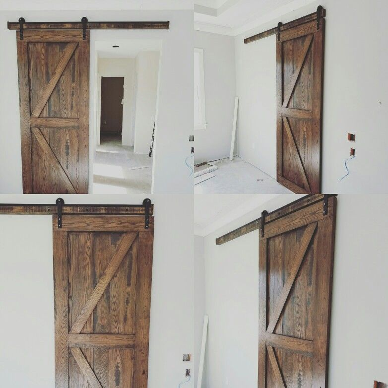 Just Finished And Installed This 102 Tall Solid Red Oak Barn Door Reclaimed Wood Furniture Tall Cabinet Storage Wood Furniture