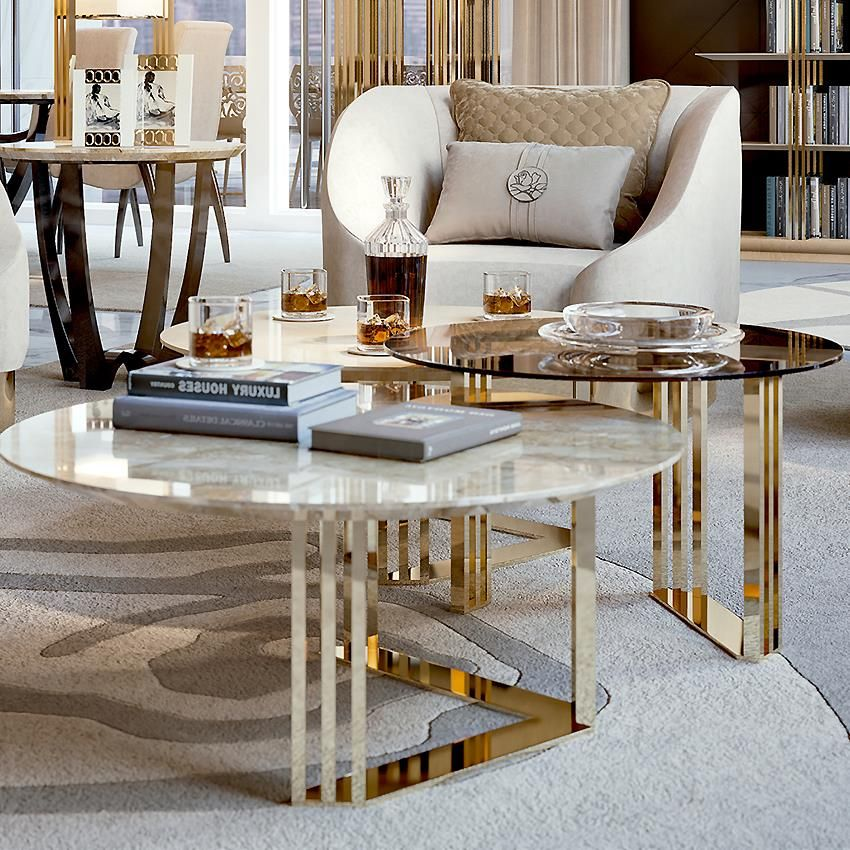 24ct Gold Coffee Tables Trio Taylor Llorente Furniture In