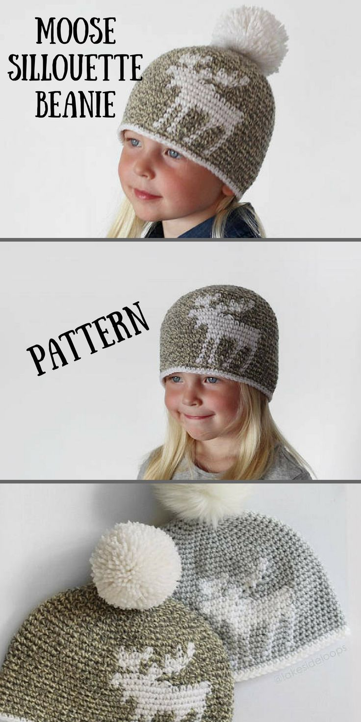 Beautiful Moose Silloutte Crochet Beanie Pattern. With or without ...