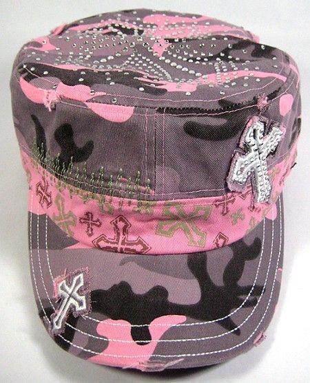 eb0426eaec394 Rhinestone Bling Cross Vintage Cadet Hat - Pink Camo Castro Cap ...