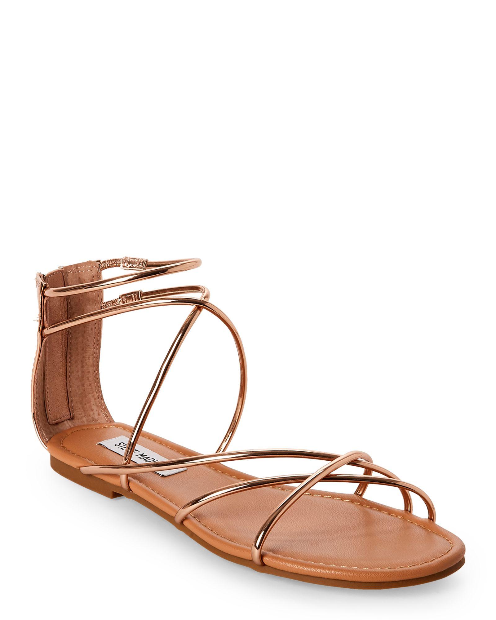 d5f67ed02ff Steve Madden Rose Gold Sapphire Strappy Flat Sandals | *Apparel ...