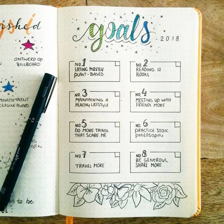 """Eva on Instagram: """"Back to bullet journalling! I created a page for my goals for 2018. Lately I have invested quite some time in learning about stoicism.…"""""""