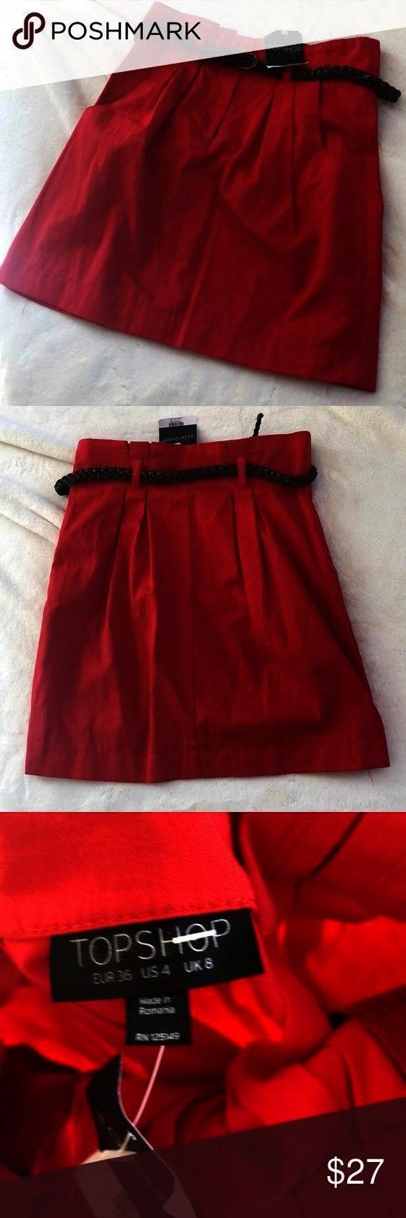 NWT Topshop red belted skirt Size 4 Belt has minor tear du NWT Topshop Skirt NWT Topshop red belted skirt Size 4 Belt has minor tear due to belt loop but is unnoticeable...