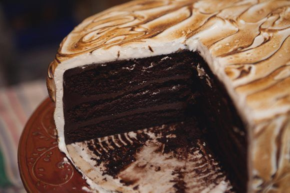 S'mores Cake by Malika Ameen. Valrhona chocolate cakes layered with malted ganache. Finished with homemade marshmallow fluff, toasted! (Don't actually want to *make* this one. Just eat it!!)