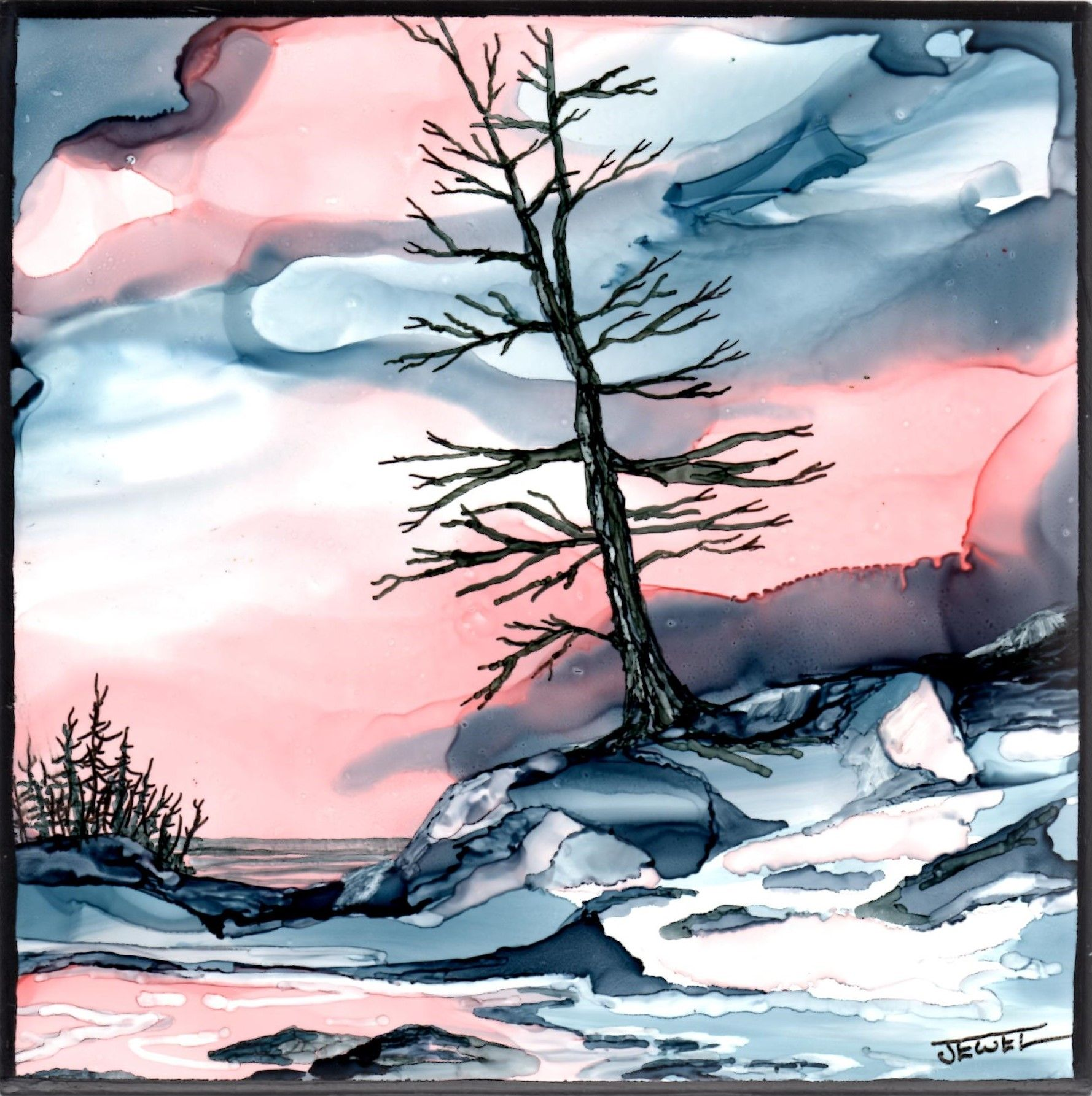 Winter Peace Jewel Buhay Alcohol Ink on Tile
