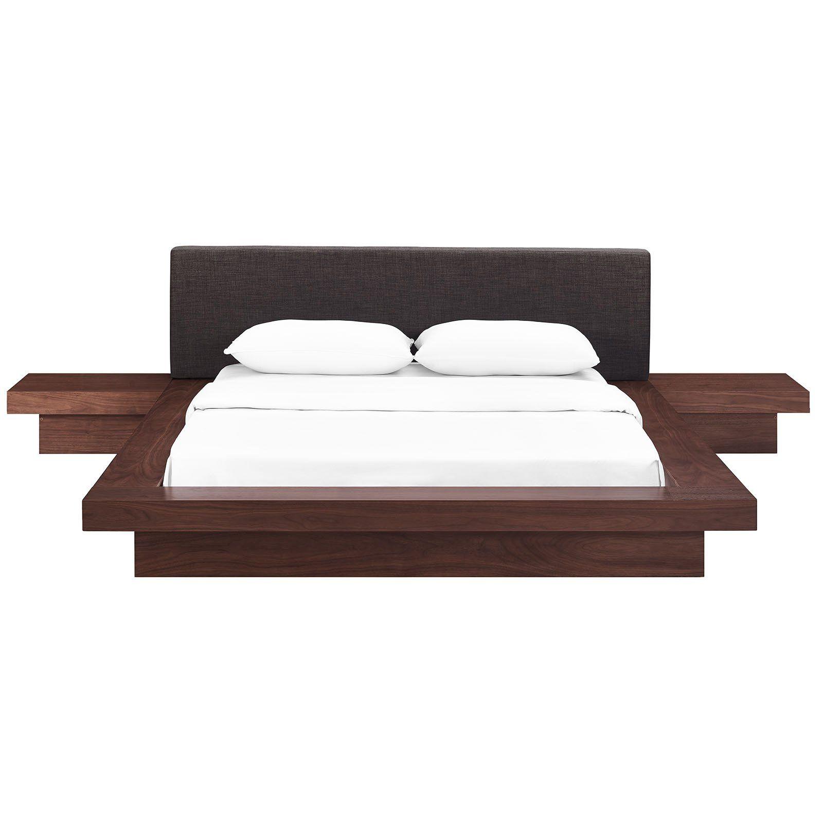 Modway Freja Platform Bed With Nightstands Queen Walnut Latte Bedroom Sets Queen Upholstered Bedroom Set Upholstered Bedroom