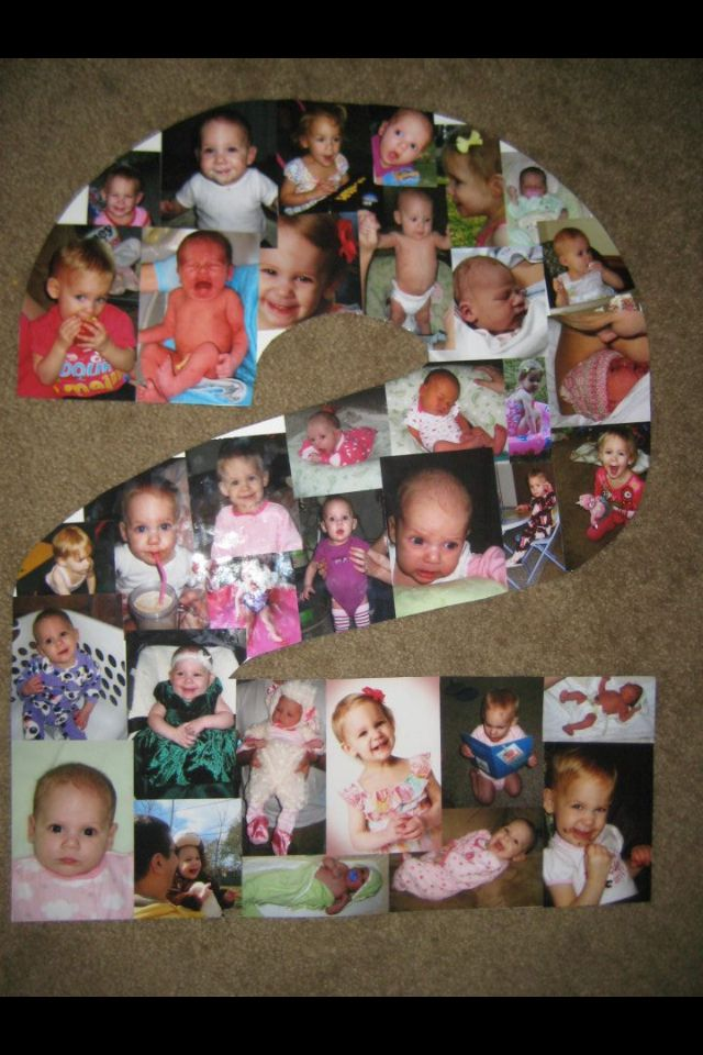 poster board cutout of age on bday with photo collage birthday