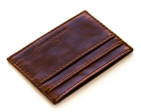 Made in Mayhem brown vegetable tanned leather wallet