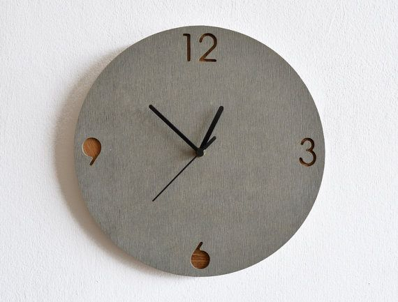 Concrete And Wood Circle Wall Clock Modern Wall Clock Etsy Wood Wall Clock Wall Clock Modern Wall Clock Design