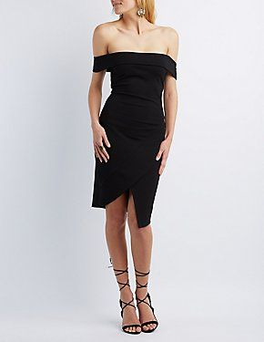 3fc998ea1ed Black Asymmetrical Off-the-Shoulder Bodycon Dress by Charlotte Russe