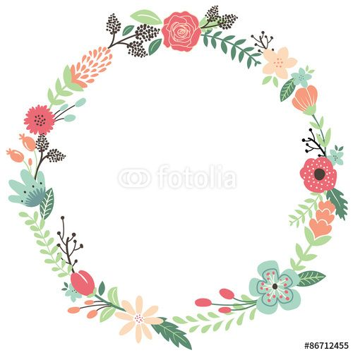 Vektor Vintage Flowers Wreath  Einladung