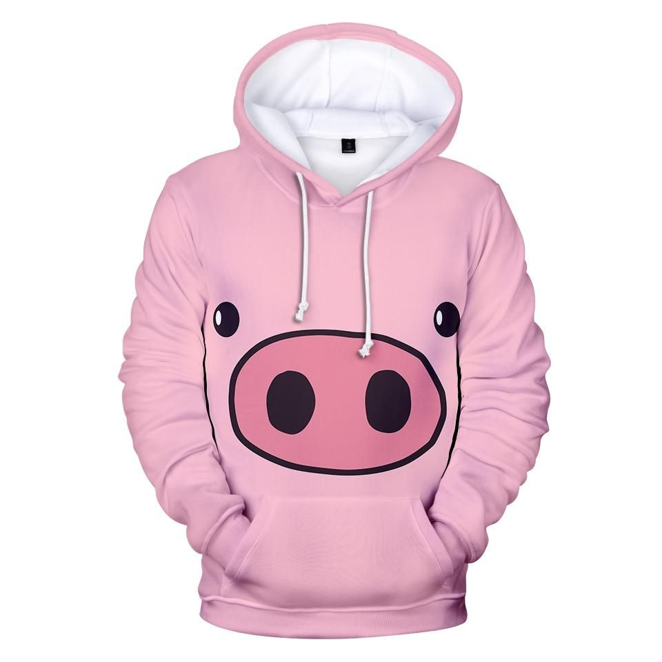 Fashion women print 3d pig hoodies pullovers autumn