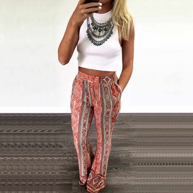 White cropped top+ethnic pants+necklace. Summer outfit 2016