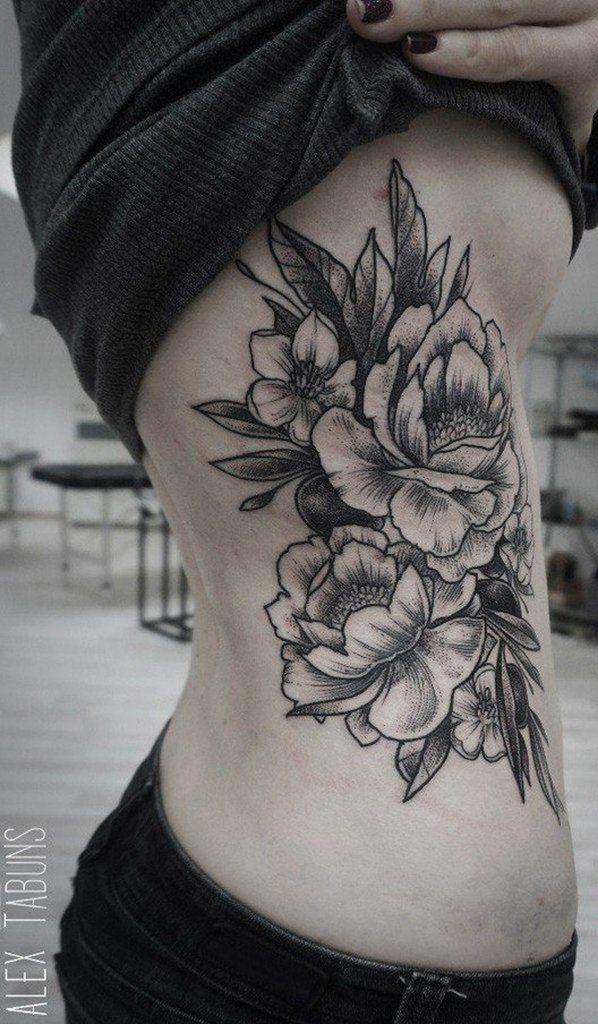 c8e2796be835a Black and White Floral Rib Tattoo - MyBodiArt.com Feather Tattoo Design,  Feather Tattoos