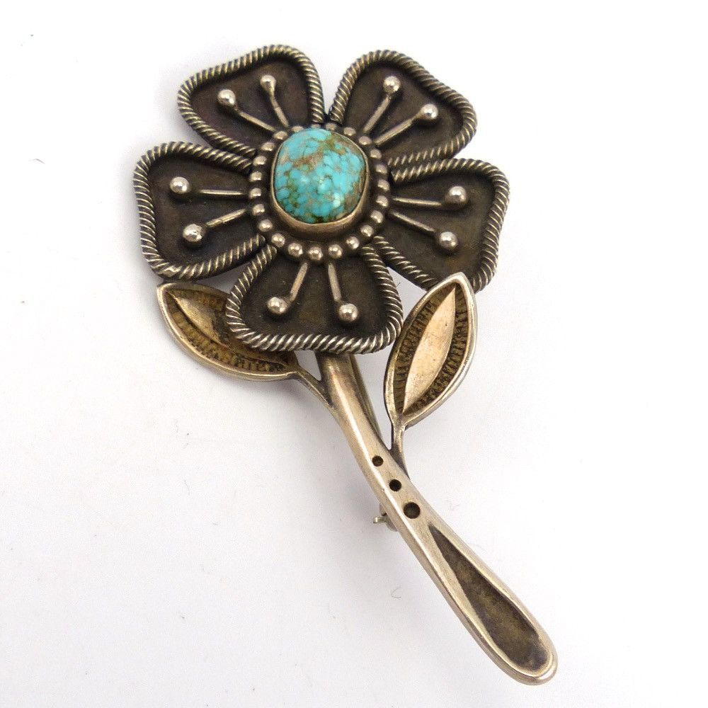 Turquoise Flower Pin