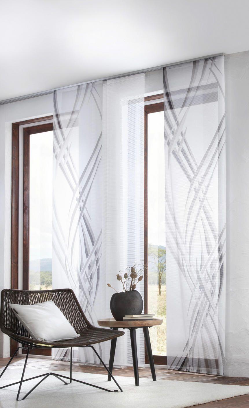 Flächenvorhang Schwarz Weiß Wellen Transparenter Vorhang Vorhänge Weißes Wohnzimmer Wohnzimmer Gestalten