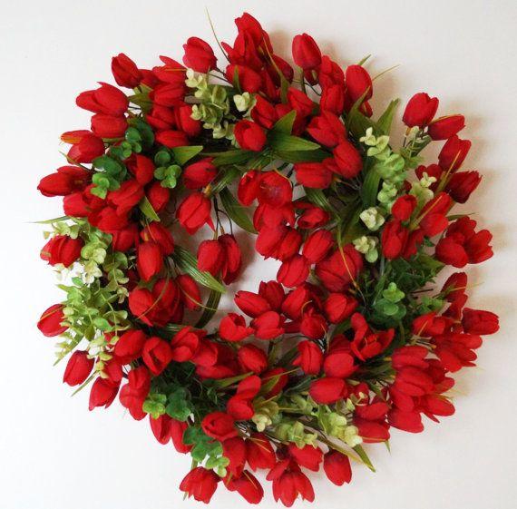 Everyday Wreath, Red Tulips Wreath,Wedding Decor, Outdoor Wedding Flowers, Summer Outdoor Wreaths, Tulip Flowers Decorations, Tulips for Weddings,