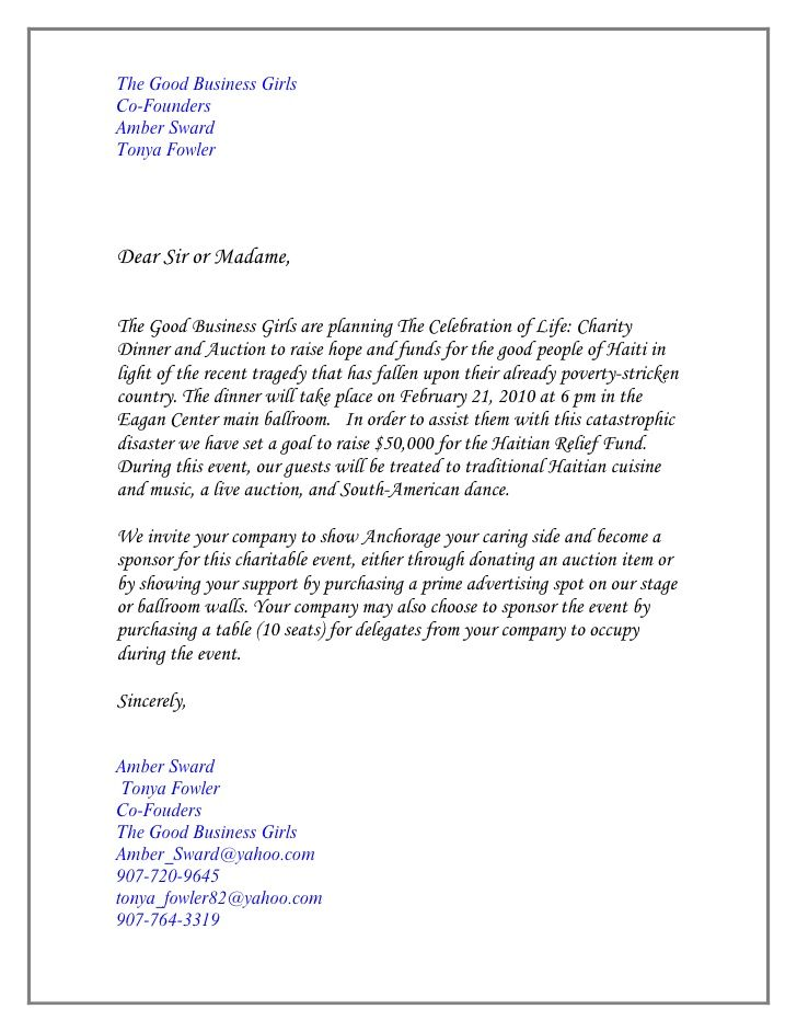 letter of invitation for sponsorship of event - Google Search - Formal Invitation Letters