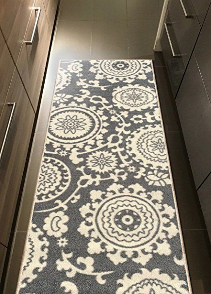Rubber Backed X Floral Swirl Medallion Grey U0026 Ivory Small Runner Non Slip  Rug   Rana Collection Kitchen Dining Living Hallway Bathroom Pet Entry Rugs