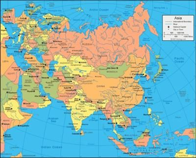 map of asia asia is 16990000sq miles bigit holds 61 of the earths population