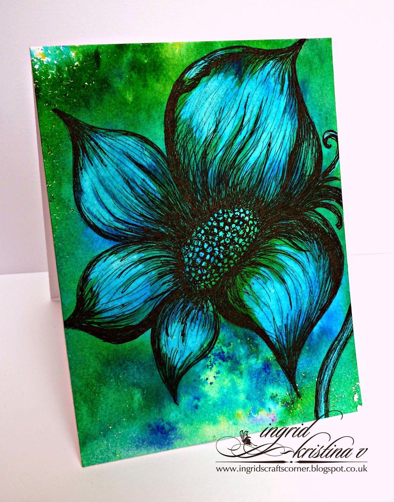 Ingrids Crafts Corner Whimsical Flower Card  Brusho Bleaching Technique