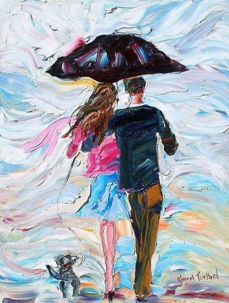 Umbrella and Lovers | Impasto Palette Knife Paintings and Textures ...
