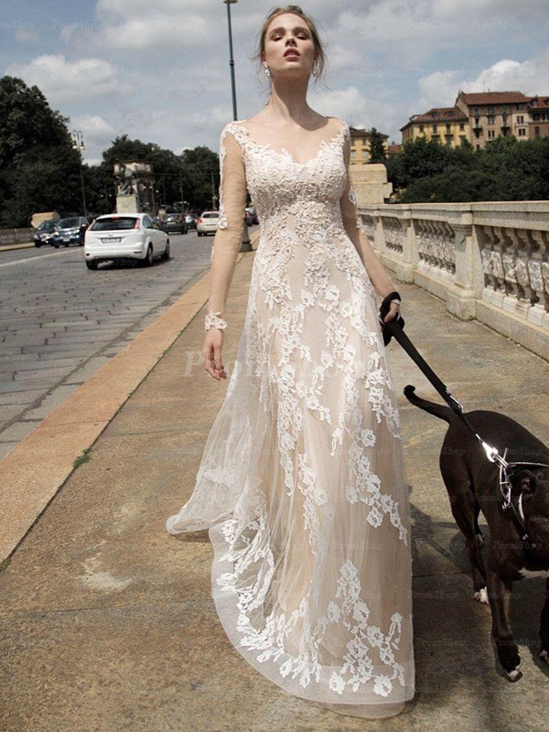 Phenomenal Aline/Princess Long Sleeves Tulle Scoop Neck