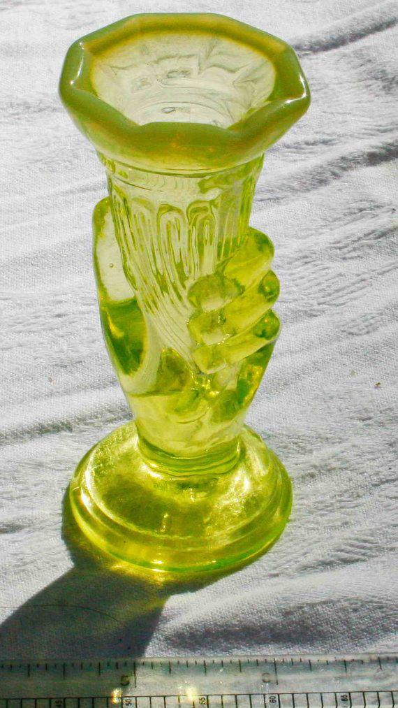 Fenton Yellow Vaseline Glass 4 Hand Vase Candle Holder Art Glass