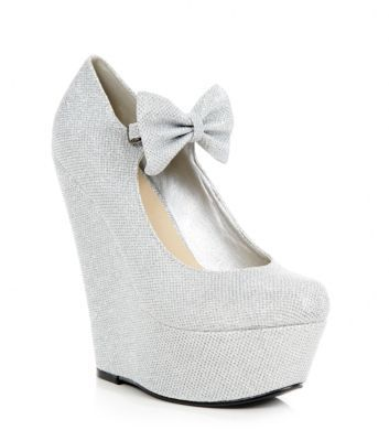 Silver Bow Glitter Wedges | shoes | Silver glitter shoes ...